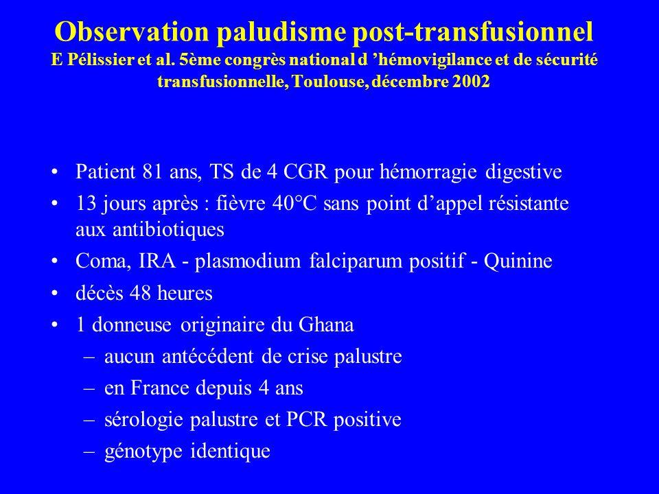Observation paludisme post-transfusionnel E Pélissier et al. 5ème congrès national d hémovigilance et de sécurité transfusionnelle, Toulouse, décembre