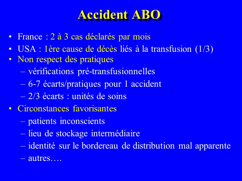 Diagnostics Incompatibilité ABO 2 (4,9%) ITCB 3 (7,3%) Allergie 18 (43,9%) OAP 18 (43,9%)