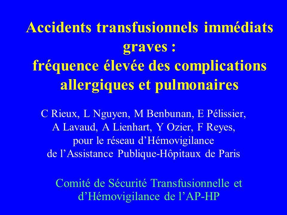Accidents transfusionnels immédiats graves : fréquence élevée des complications allergiques et pulmonaires C Rieux, L Nguyen, M Benbunan, E Pélissier,