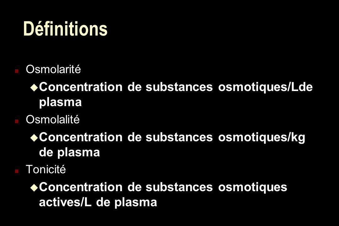 Définitions n Osmolarité Concentration de substances osmotiques/Lde plasma n Osmolalité Concentration de substances osmotiques/kg de plasma n Tonicité