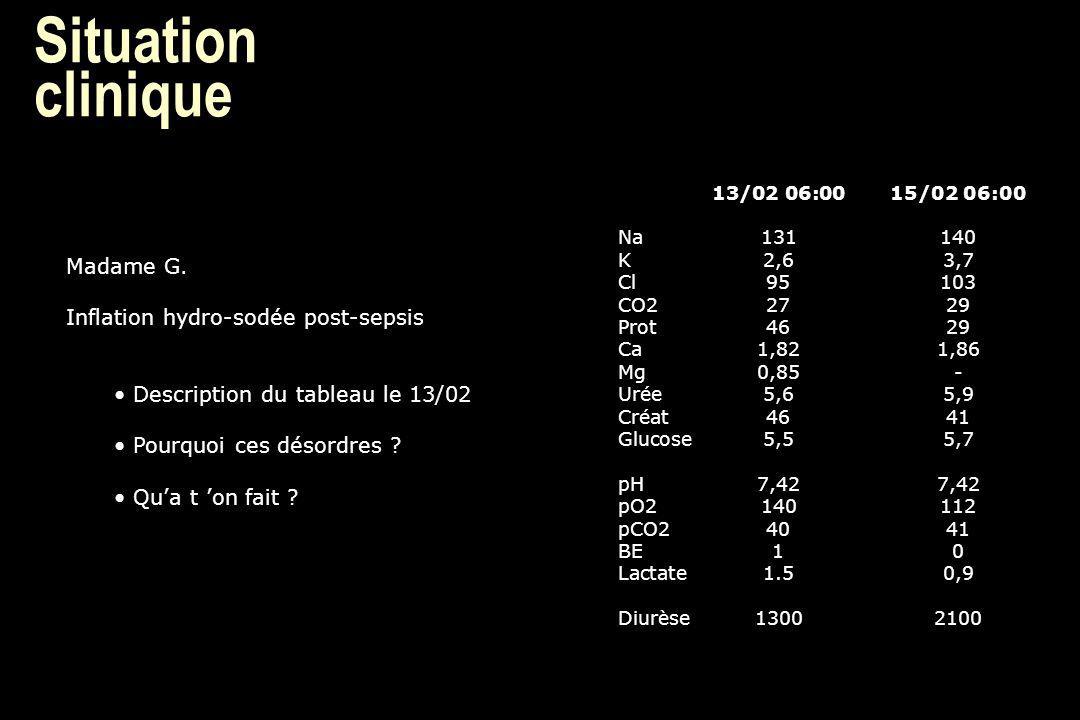 Situation clinique 13/02 06:0015/02 06:00 Na131140 K2,63,7 Cl95103 CO22729 Prot4629 Ca1,821,86 Mg0,85- Urée5,65,9 Créat4641 Glucose5,55,7 pH7,427,42 p