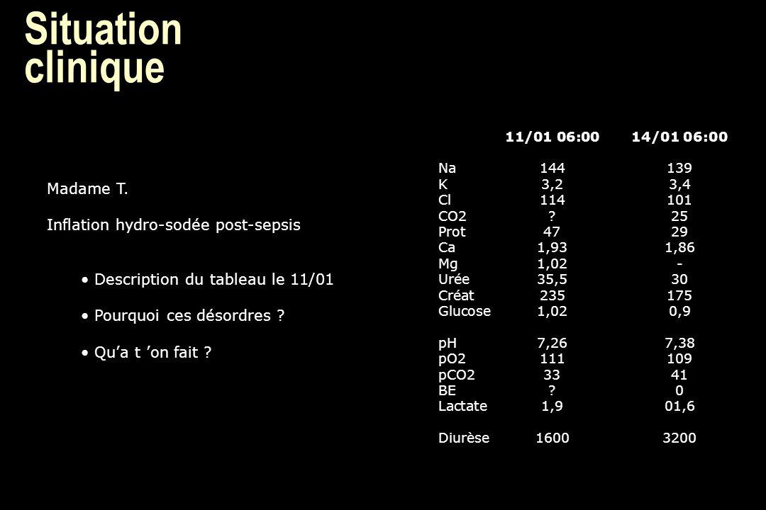Situation clinique 11/01 06:0014/01 06:00 Na144139 K3,23,4 Cl114101 CO2?25 Prot4729 Ca1,931,86 Mg1,02- Urée35,530 Créat235175 Glucose1,020,9 pH7,267,3