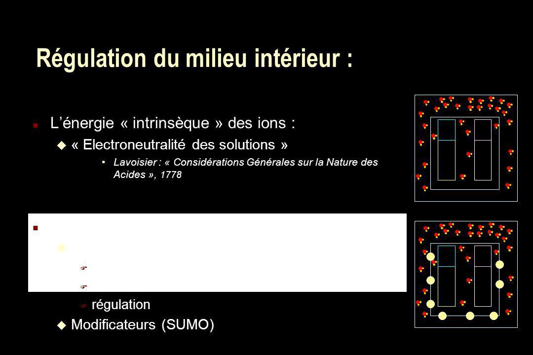 Régulation du milieu intérieur : n Lénergie « intrinsèque » des ions : u « Electroneutralité des solutions » Lavoisier : « Considérations Générales su