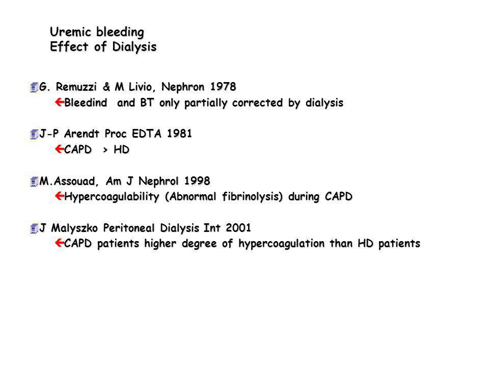 Uremic bleeding Effect of Dialysis 4G. Remuzzi & M Livio, Nephron 1978 ç Bleedind and BT only partially corrected by dialysis 4J-P Arendt Proc EDTA 19