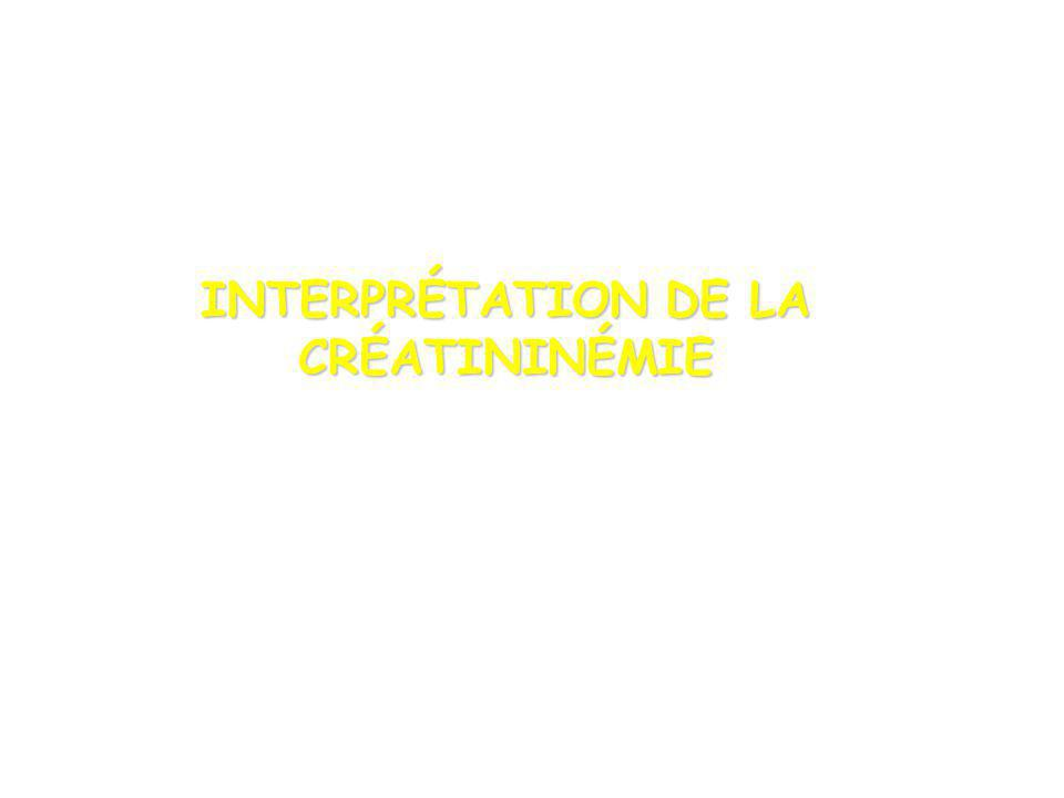 INTERPRÉTATION DE LA CRÉATININÉMIE