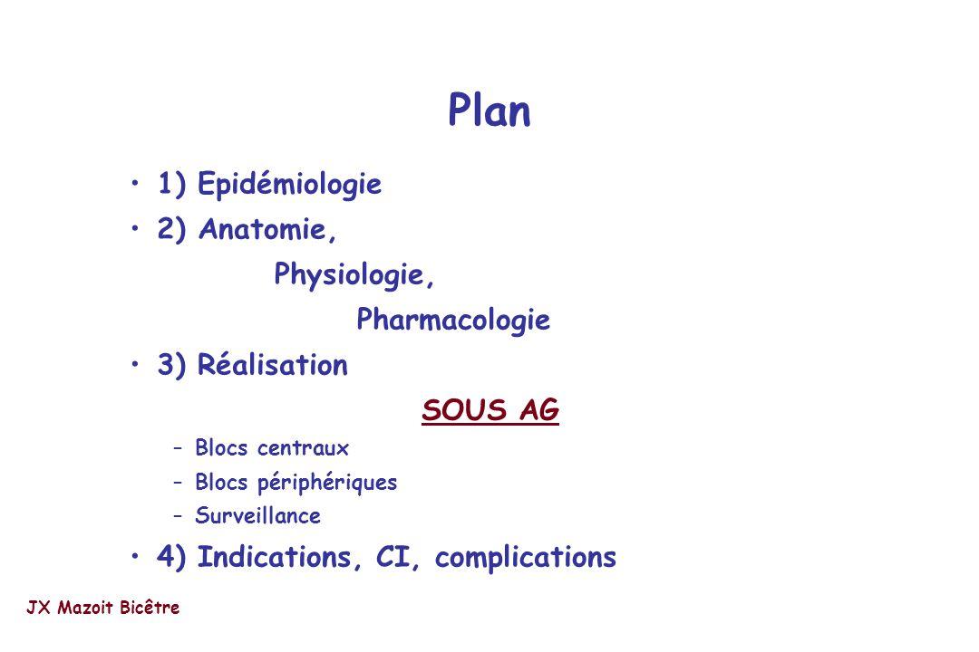 Plan 1) Epidémiologie 2) Anatomie, Physiologie, Pharmacologie 3) Réalisation SOUS AG –Blocs centraux –Blocs périphériques –Surveillance 4) Indications