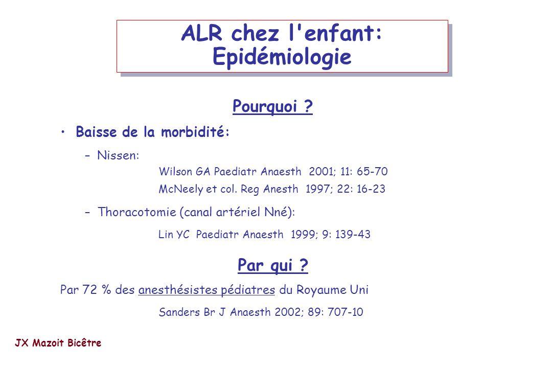 ALR chez l'enfant: Epidémiologie Pourquoi ? Baisse de la morbidité: –Nissen: Wilson GA Paediatr Anaesth 2001; 11: 65-70 McNeely et col. Reg Anesth 199