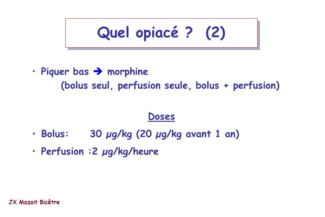 Quel opiacé ? (2) Piquer bas morphine (bolus seul, perfusion seule, bolus + perfusion) Doses Bolus:30 µg/kg (20 µg/kg avant 1 an) Perfusion :2 µg/kg/h