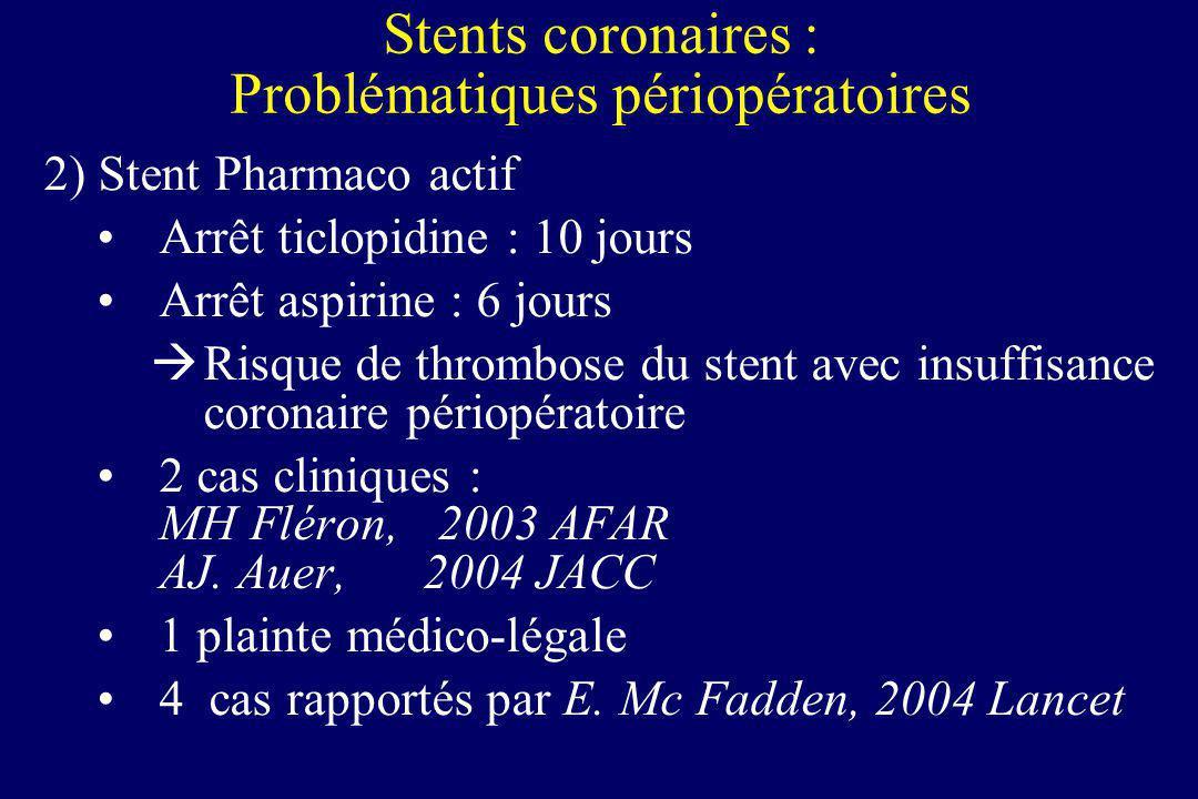 2) Stent Pharmaco actif Arrêt ticlopidine : 10 jours Arrêt aspirine : 6 jours Risque de thrombose du stent avec insuffisance coronaire périopératoire
