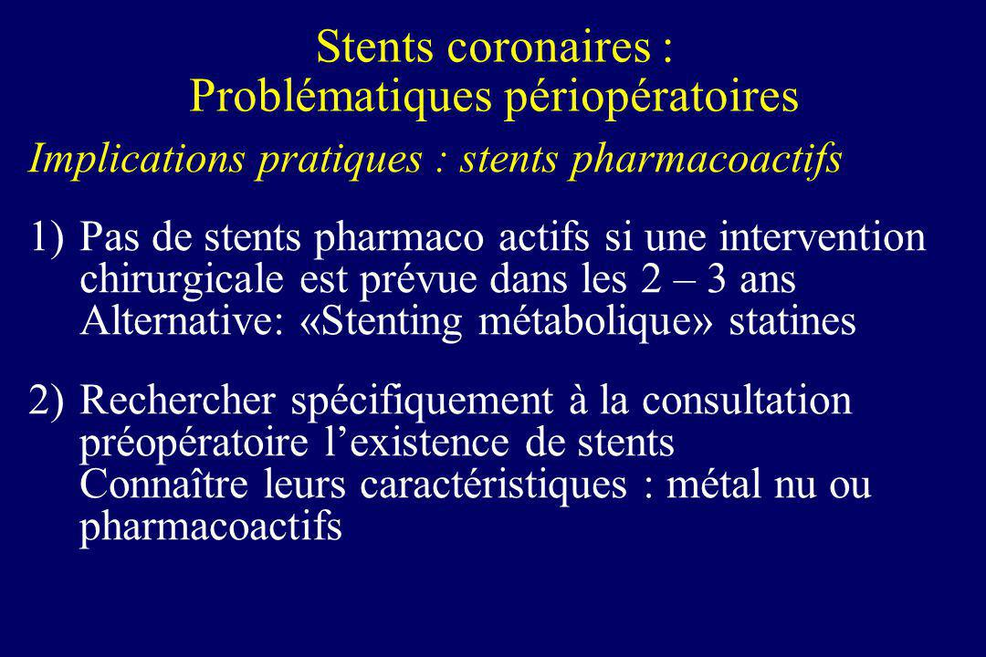 Implications pratiques : stents pharmacoactifs 1)Pas de stents pharmaco actifs si une intervention chirurgicale est prévue dans les 2 – 3 ans Alternat