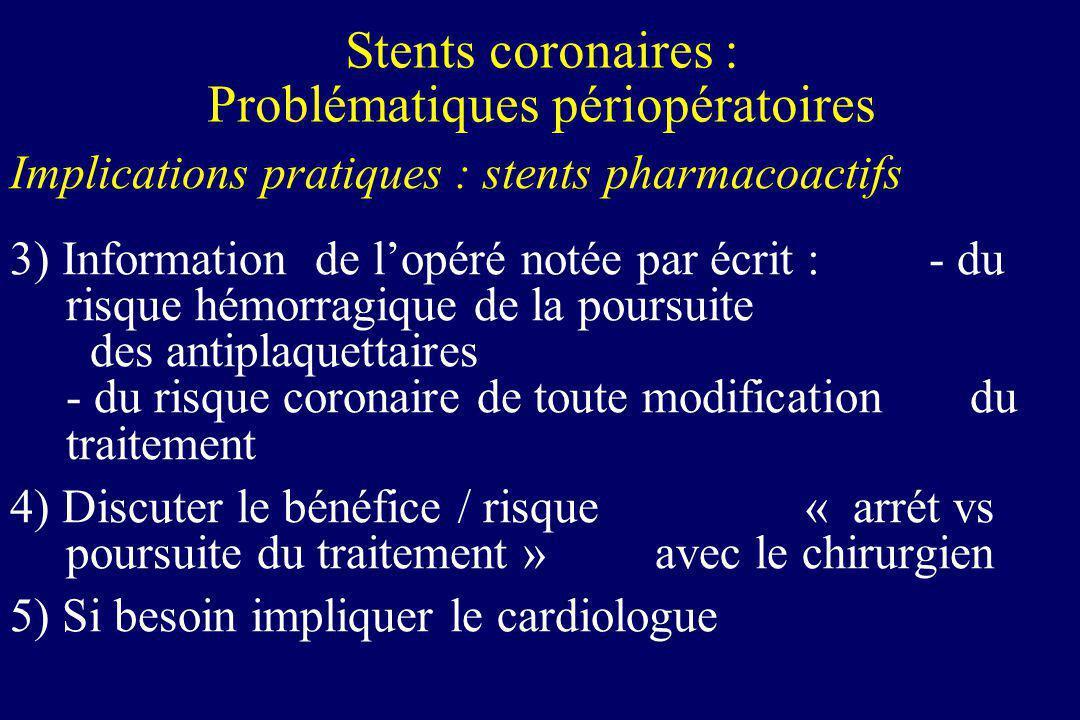 Implications pratiques : stents pharmacoactifs 3) Information de lopéré notée par écrit : - du risque hémorragique de la poursuite des antiplaquettair