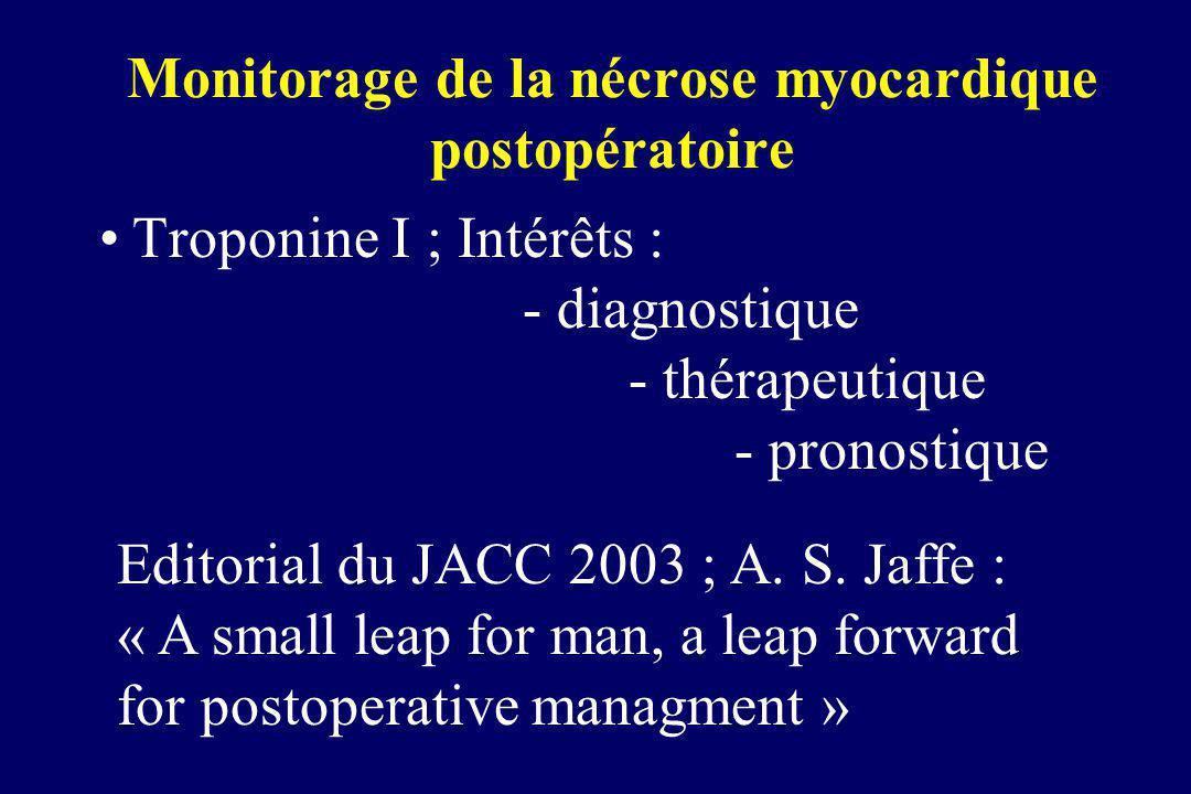 Monitorage de la nécrose myocardique postopératoire Troponine I ; Intérêts : - diagnostique - thérapeutique - pronostique Editorial du JACC 2003 ; A.