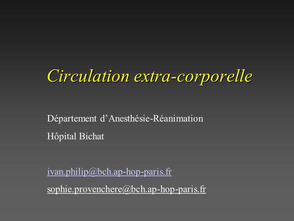 Circulation extra-corporelle Département dAnesthésie-Réanimation Hôpital Bichat ivan.philip@bch.ap-hop-paris.fr sophie.provenchere@bch.ap-hop-paris.fr