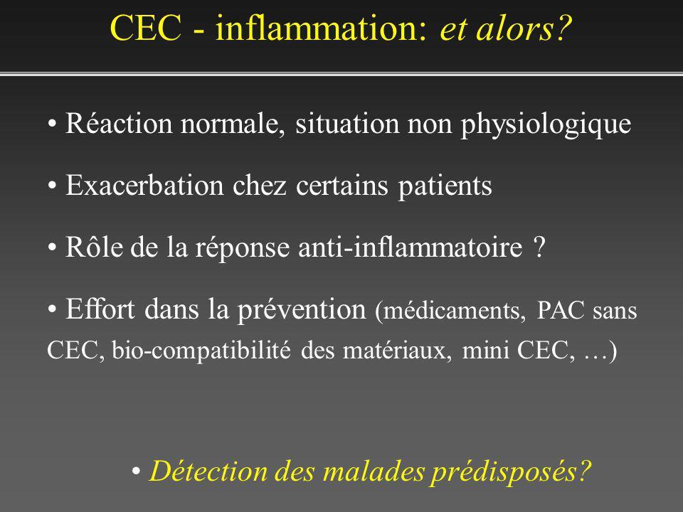 CEC - inflammation: et alors? Réaction normale, situation non physiologique Exacerbation chez certains patients Rôle de la réponse anti-inflammatoire