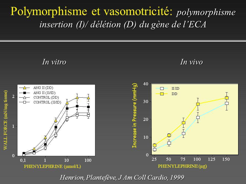 polymorphisme insertion (I)/ délétion (D) du gène de lECA Polymorphisme et vasomotricité: polymorphisme insertion (I)/ délétion (D) du gène de lECA 0 10 20 30 40 Increase in Pressure (mmHg) 255075100125150 PHENYLEPHRINE (µg) DD II/ID In vitro In vivo Henrion, Plantefève, J Am Coll Cardio, 1999