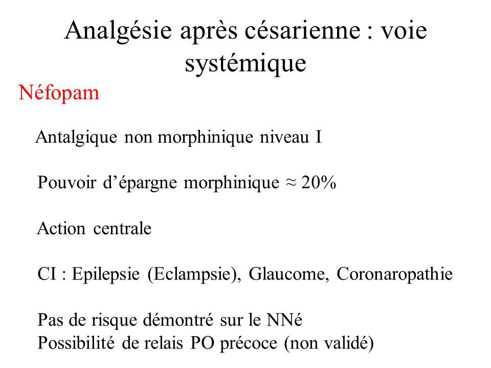 Conclusion analgésie pour césarienne J0 post-opératoire systématique : Partie variable –Morphine intrathécale 100µg + Sufentanil intrathécal 2,5-5 µg –Morphine Sous-cutanée 5-10 mg /6H –Morphine iv-PCA: bolus 1 mg, intervalle réfractaire 5, dose max/4H:25 mg, pas de perfusion continue Partie fixe –Propacétamol 2gr iv en20/ 6H –Kétoprofène 50 mg ivl /6H –± Néfopam ivl /6-4H