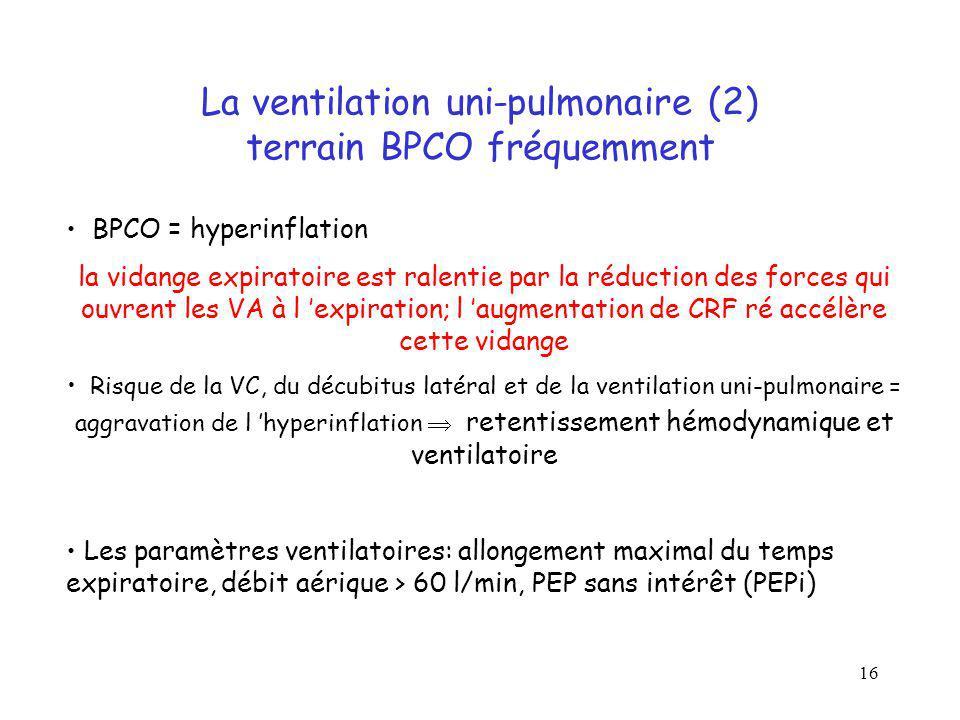 16 La ventilation uni-pulmonaire (2) terrain BPCO fréquemment BPCO = hyperinflation la vidange expiratoire est ralentie par la réduction des forces qu