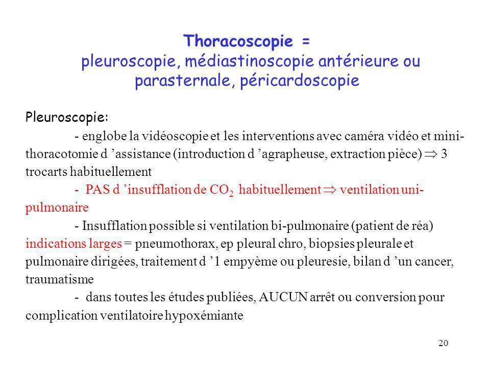 20 Thoracoscopie = pleuroscopie, médiastinoscopie antérieure ou parasternale, péricardoscopie Pleuroscopie: - englobe la vidéoscopie et les interventi