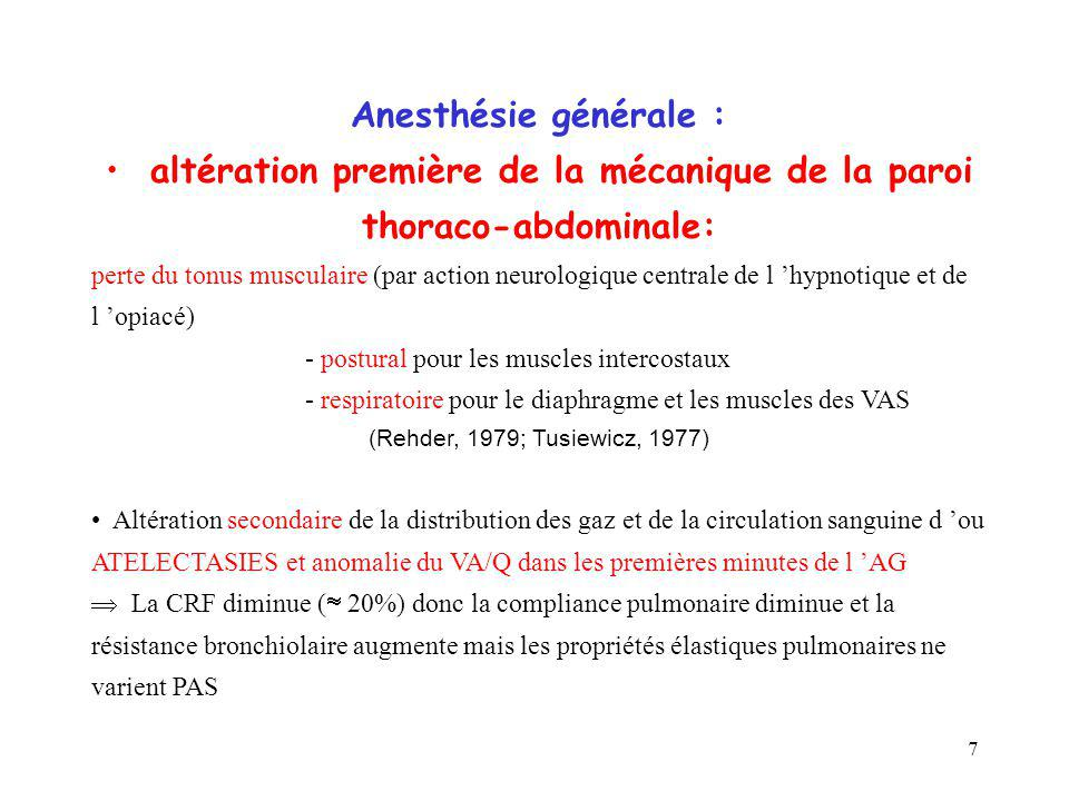 7 Anesthésie générale : altération première de la mécanique de la paroi thoraco-abdominale: perte du tonus musculaire (par action neurologique central