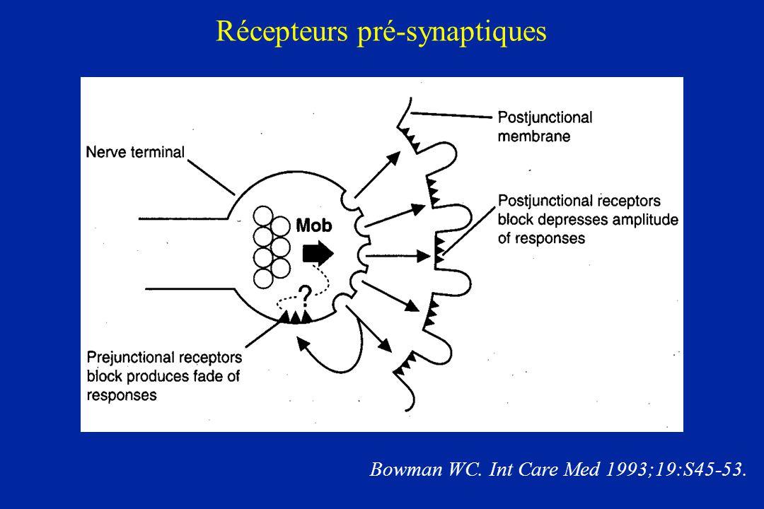 Récepteurs pré-synaptiques Bowman WC. Int Care Med 1993;19:S45-53.