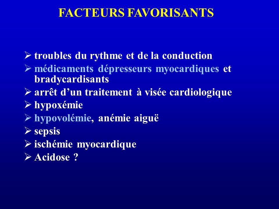 troubles du rythme et de la conduction médicaments dépresseurs myocardiques et bradycardisants arrêt dun traitement à visée cardiologique hypoxémie hy