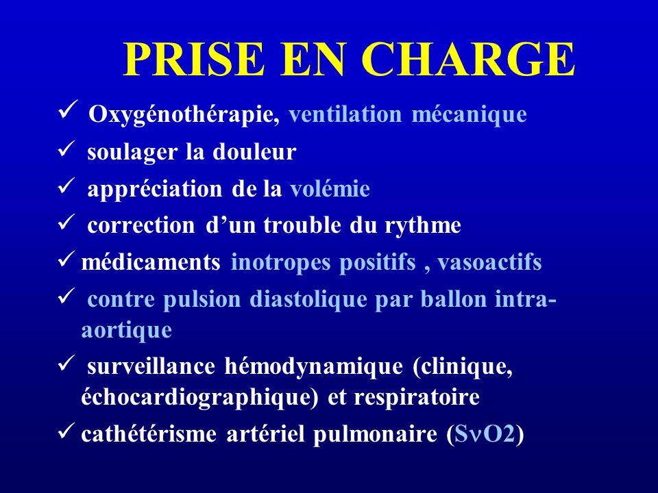 PRISE EN CHARGE Oxygénothérapie, ventilation mécanique soulager la douleur appréciation de la volémie correction dun trouble du rythme médicaments ino
