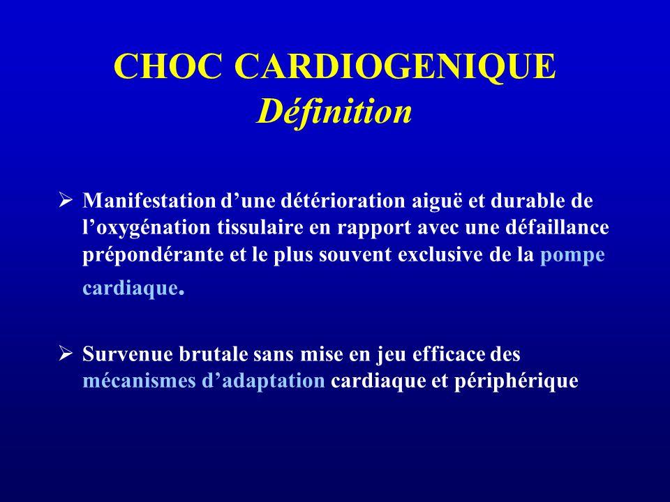 CHOC CARDIOGENIQUE Définition Manifestation dune détérioration aiguë et durable de loxygénation tissulaire en rapport avec une défaillance prépondérante et le plus souvent exclusive de la pompe cardiaque.