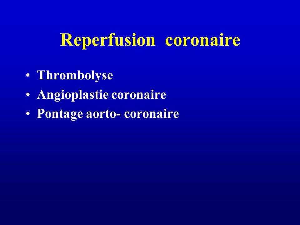 Reperfusion coronaire Thrombolyse Angioplastie coronaire Pontage aorto- coronaire