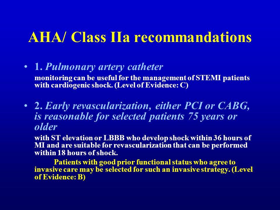 AHA/ Class IIa recommandations 1.