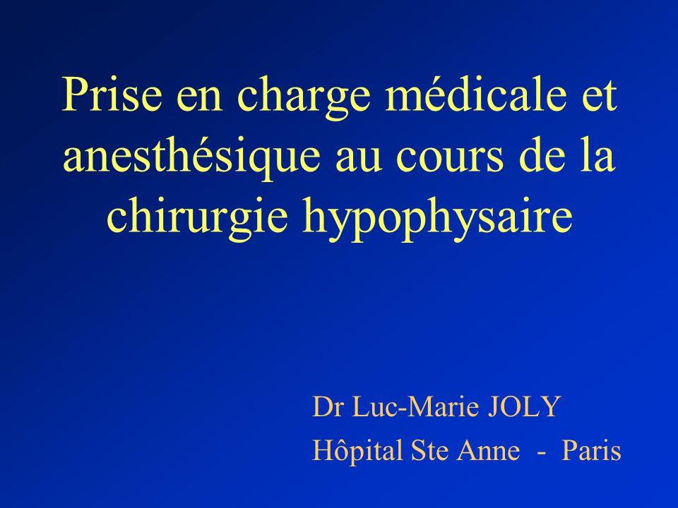 Prise en charge médicale et anesthésique au cours de la chirurgie hypophysaire Dr Luc-Marie JOLY Hôpital Ste Anne - Paris