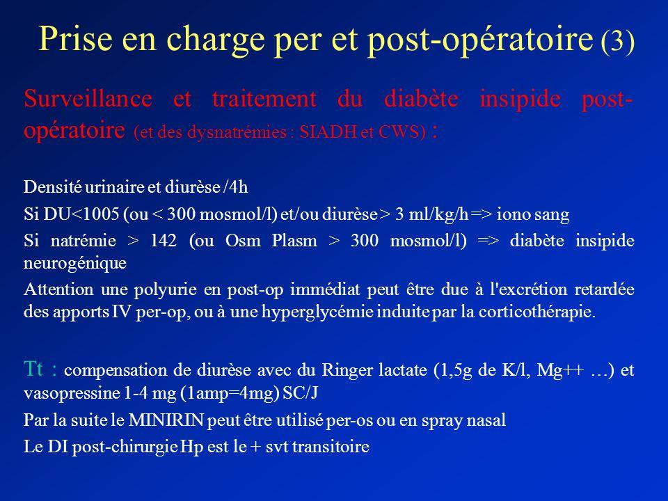 Prise en charge per et post-opératoire (3) Surveillance et traitement du diabète insipide post- opératoire (et des dysnatrémies : SIADH et CWS) : Dens