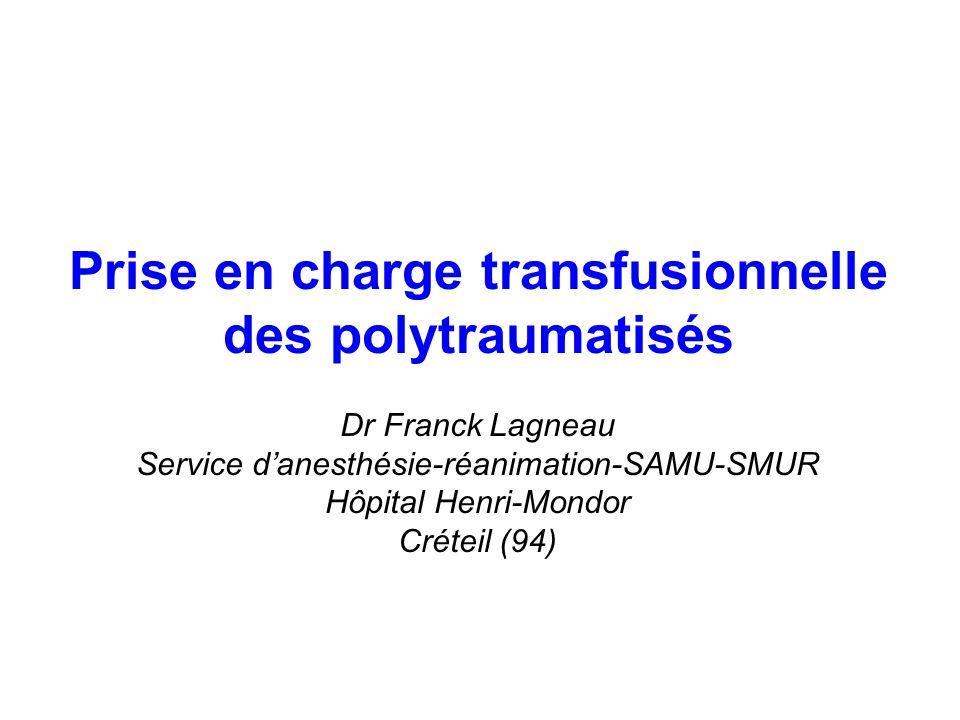 Quelques règles de base… État de choc = choc hémorragique Traitement salvateur = traitement de la lésion hémorragique Objectif prioritaire = assurer la survie jusquau contrôle de la lésion hémorragique –Pression de perfusion Remplissage vasculaire (voies veineuses, solutés) Catécholamines –TaO2/DO2 1 Oxygénothérapie, ventilation mécanique, baisse de la DO2 Transfusion de CGR Objectifs « secondaires » = limiter les facteurs de majoration du saignement –Fixer un objectif de PAM –Lutter contre lhypothermie –Limiter les conséquences de lhémodilution (PFC, CPA, fibrinogène) –Traiter une CIVD ou une fibrinolyse (PFC, ATIII, fibrinogène) Impératif éthique et économique = pas de perte de PSL