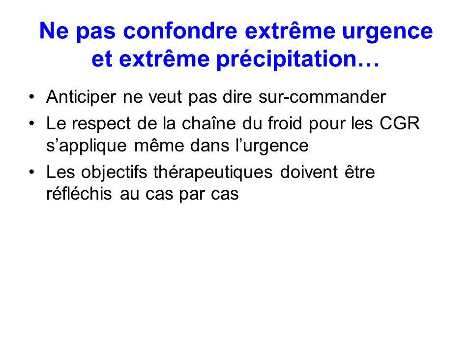 Ne pas confondre extrême urgence et extrême précipitation… Anticiper ne veut pas dire sur-commander Le respect de la chaîne du froid pour les CGR sapp