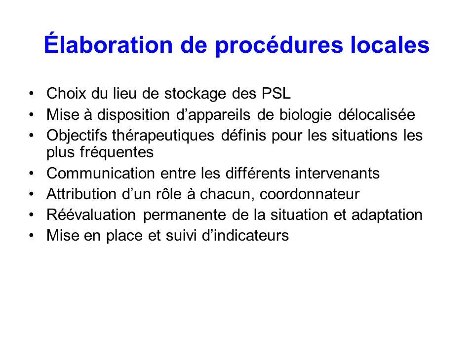 Élaboration de procédures locales Choix du lieu de stockage des PSL Mise à disposition dappareils de biologie délocalisée Objectifs thérapeutiques déf