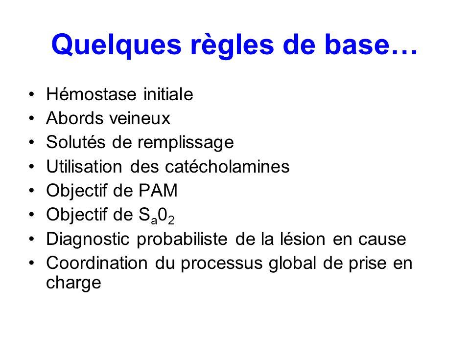 Quelques règles de base… Hémostase initiale Abords veineux Solutés de remplissage Utilisation des catécholamines Objectif de PAM Objectif de S a 0 2 D