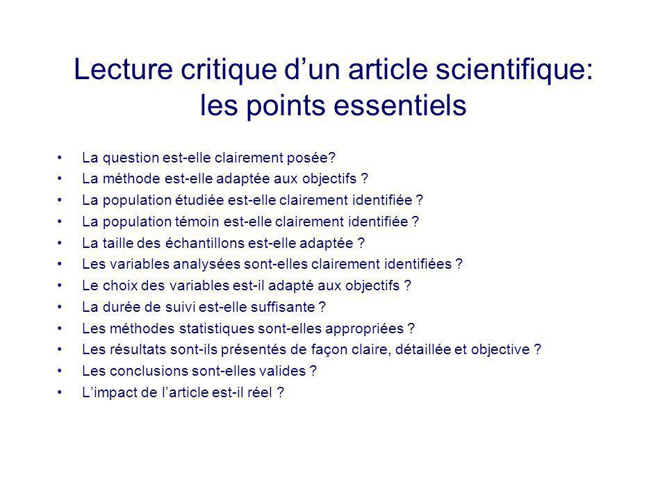Lecture critique dun article scientifique: les points essentiels La question est-elle clairement posée? La méthode est-elle adaptée aux objectifs ? La