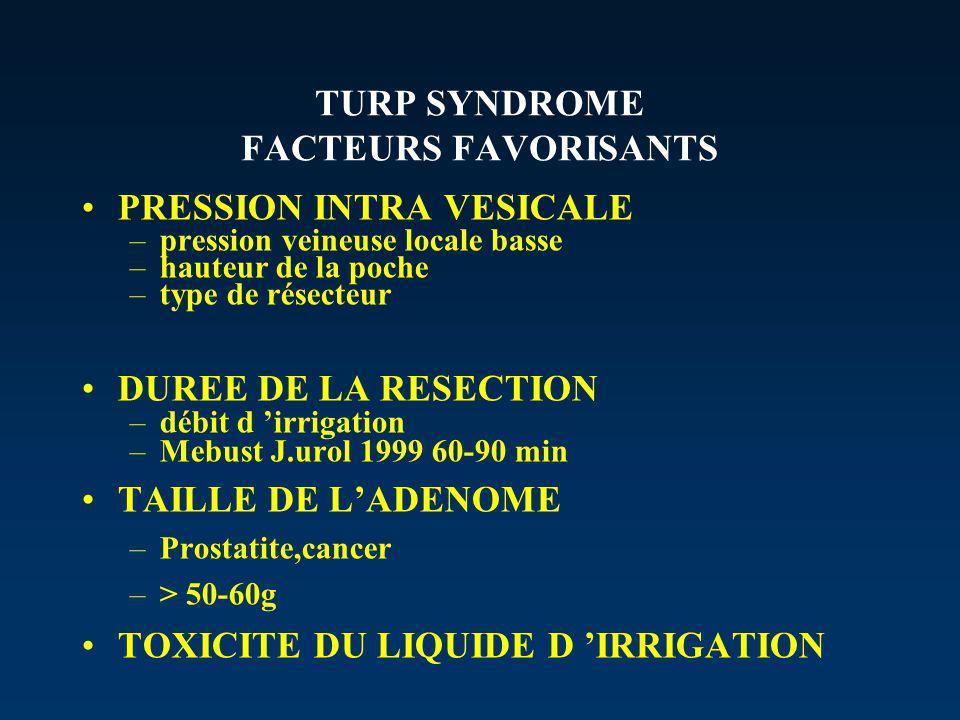 TURP SYNDROME FACTEURS FAVORISANTS PRESSION INTRA VESICALE –pression veineuse locale basse –hauteur de la poche –type de résecteur DUREE DE LA RESECTION –débit d irrigation –Mebust J.urol 1999 60-90 min TAILLE DE LADENOME –Prostatite,cancer –> 50-60g TOXICITE DU LIQUIDE D IRRIGATION