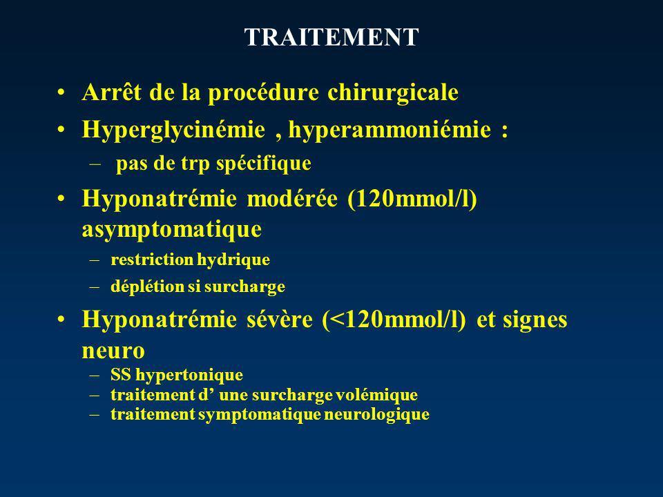 TRAITEMENT Arrêt de la procédure chirurgicale Hyperglycinémie, hyperammoniémie : – pas de trp spécifique Hyponatrémie modérée (120mmol/l) asymptomatique –restriction hydrique –déplétion si surcharge Hyponatrémie sévère (<120mmol/l) et signes neuro –SS hypertonique –traitement d une surcharge volémique –traitement symptomatique neurologique