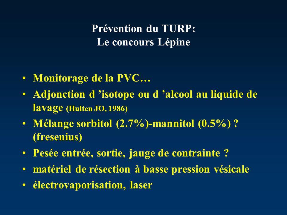 Prévention du TURP: Le concours Lépine Monitorage de la PVC… Adjonction d isotope ou d alcool au liquide de lavage (Hulten JO, 1986) Mélange sorbitol (2.7%)-mannitol (0.5%) .