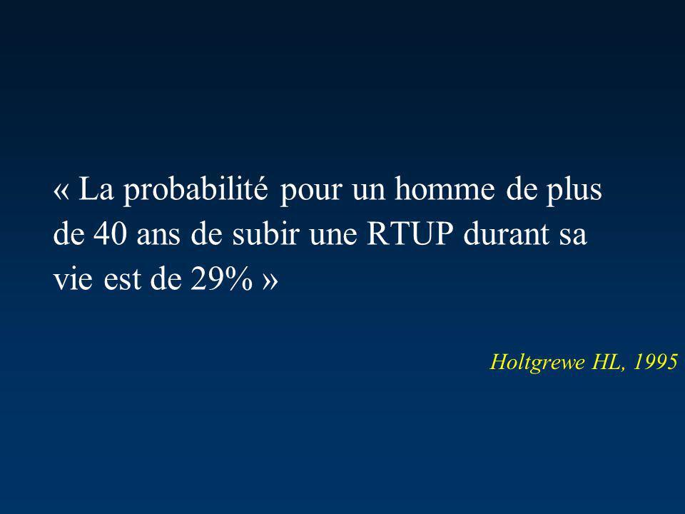 « La probabilité pour un homme de plus de 40 ans de subir une RTUP durant sa vie est de 29% » Holtgrewe HL, 1995