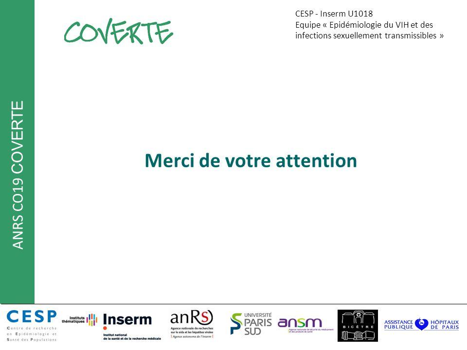 ANRS CO19 COVERTE 11 mai 2012 AG 2012 EPF Primeva Coverte Eq4. CESP U1018 Merci de votre attention CESP - Inserm U1018 Equipe « Epidémiologie du VIH e