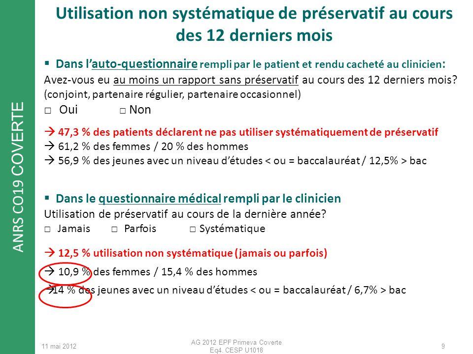 ANRS CO19 COVERTE 11 mai 2012 AG 2012 EPF Primeva Coverte Eq4. CESP U1018 Dans lauto-questionnaire rempli par le patient et rendu cacheté au clinicien