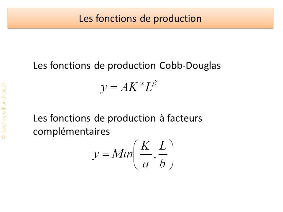 © jeromevillion.free.fr Les fonctions de production Les fonctions de production Cobb-Douglas Les fonctions de production à facteurs complémentaires