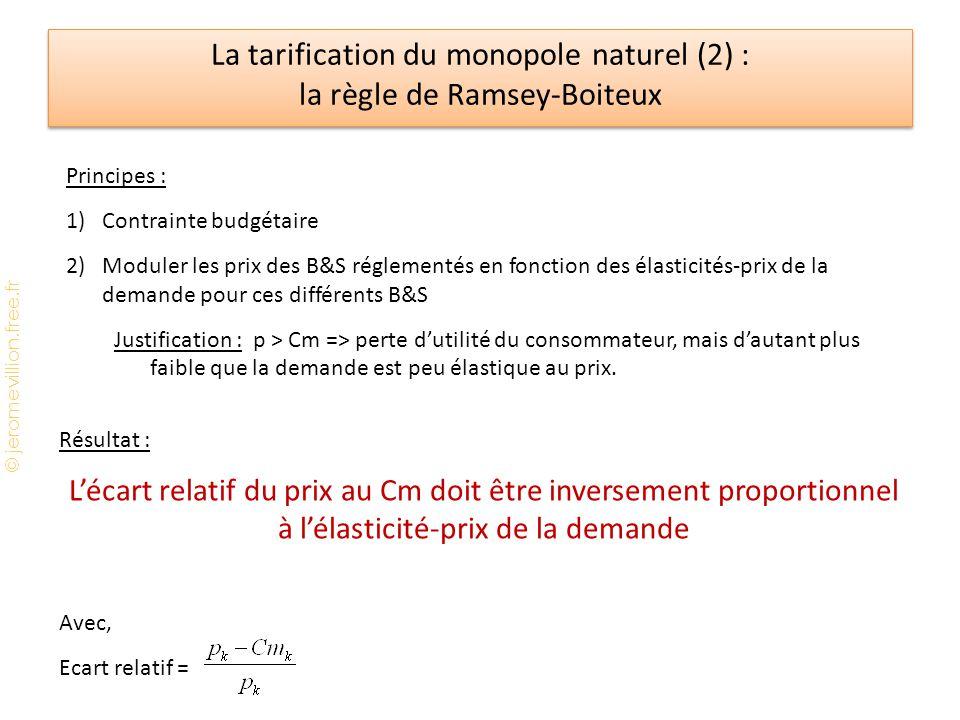 © jeromevillion.free.fr La tarification du monopole naturel (2) : la règle de Ramsey-Boiteux Principes : 1)Contrainte budgétaire 2)Moduler les prix de