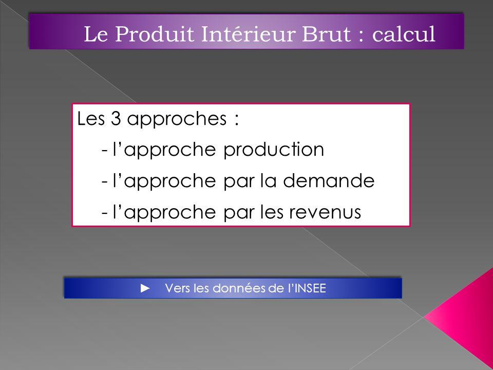 Les 3 approches : - lapproche production - lapproche par la demande - lapproche par les revenus Vers les données de lINSEE