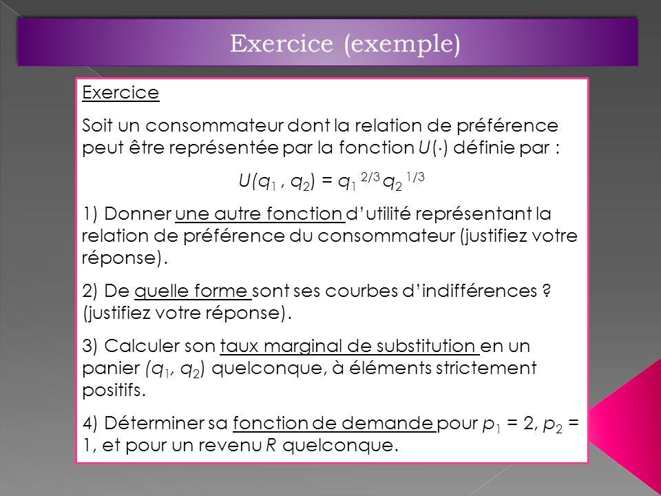 Exercice Soit un consommateur dont la relation de préférence peut être représentée par la fonction U( ) définie par : U(q 1, q 2 ) = q 1 2/3 q 2 1/3 1) Donner une autre fonction dutilité représentant la relation de préférence du consommateur (justifiez votre réponse).