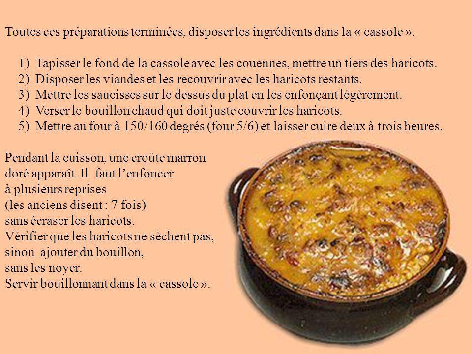 1) Faire tremper les haricots secs une nuit à l'eau froide. 2) Mettre les haricots dans une casserole d'eau froide. Porter à ébullition pour blanchir