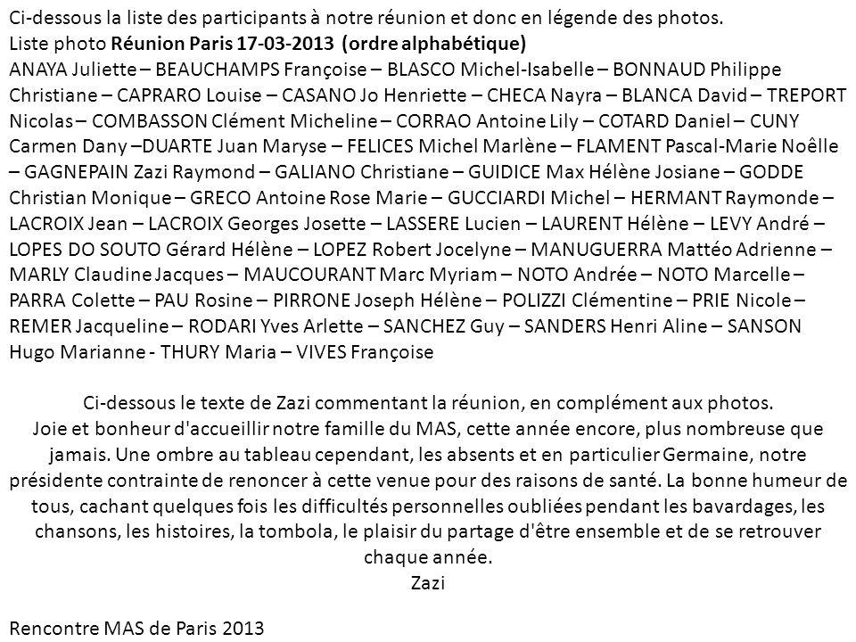 Ci-dessous la liste des participants à notre réunion et donc en légende des photos. Liste photo Réunion Paris 17-03-2013 (ordre alphabétique) ANAYA Ju