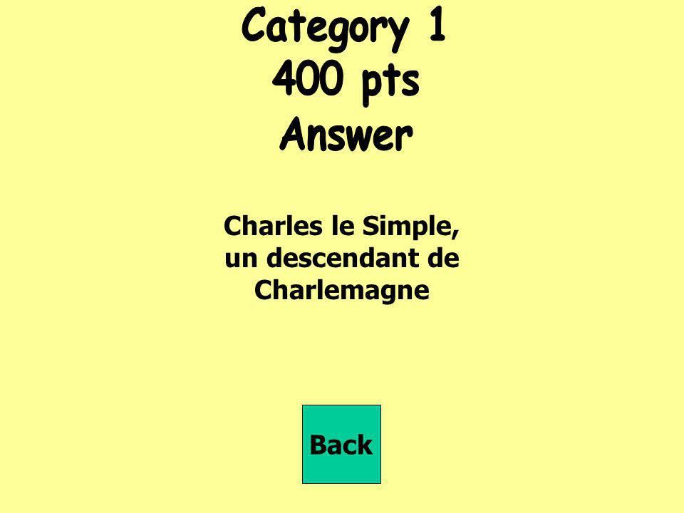 Charles le Simple, un descendant de Charlemagne Back
