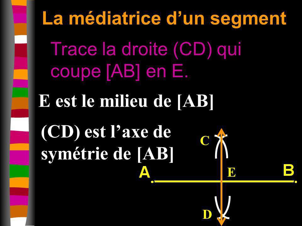 La médiatrice dun segment Trace la droite (CD) qui coupe [AB] en E. C D E E est le milieu de [AB] (CD) est laxe de symétrie de [AB]